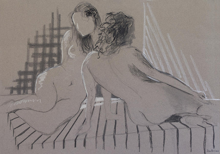 Nude Drawing - Lets Pose Together by Don Perino