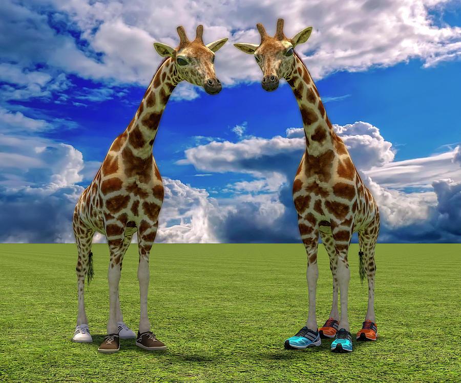 Giraffe Digital Art - Lets Shape Up by Betsy Knapp