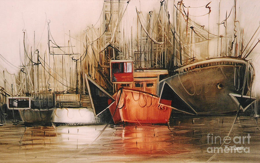 Boats Painting - Lets Travel.... by Fatima Stamato