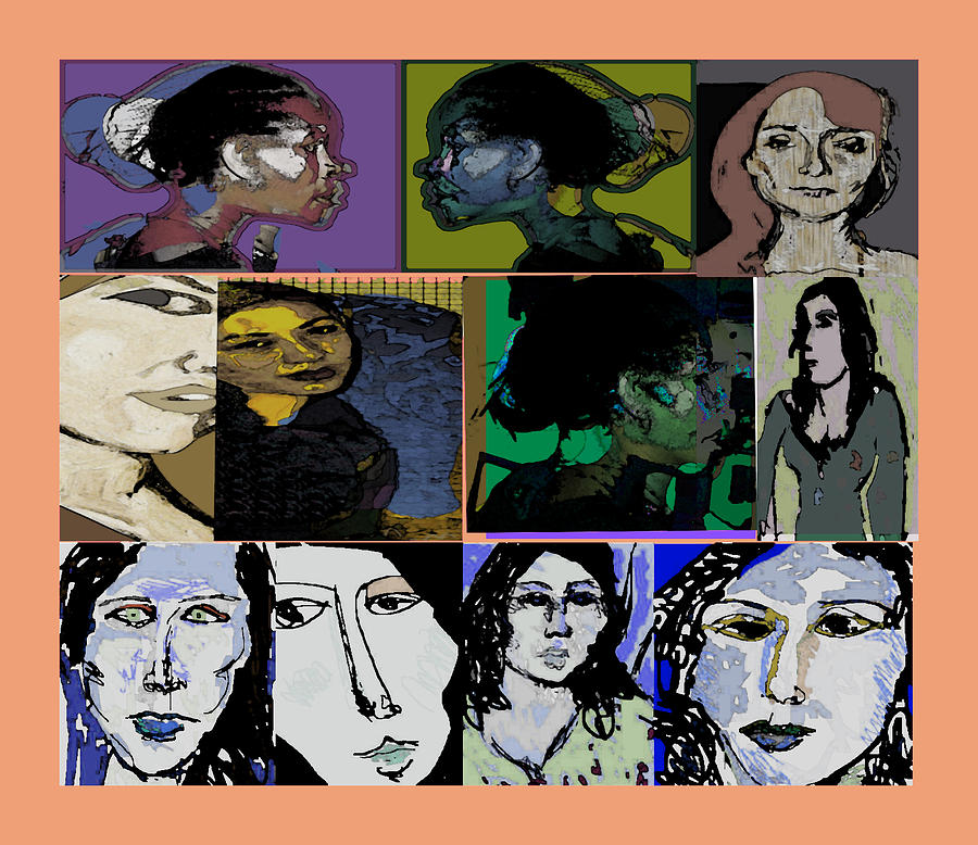 Women Painting - Letss Make Faces by Noredin Morgan