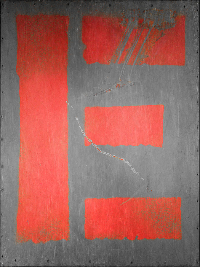 Letter E Red On Steel Photograph