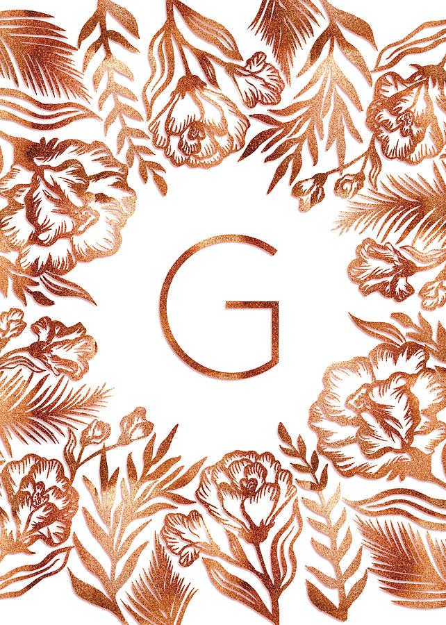 Letter G - Rose Gold Glitter Flowers by Ekaterina Chernova
