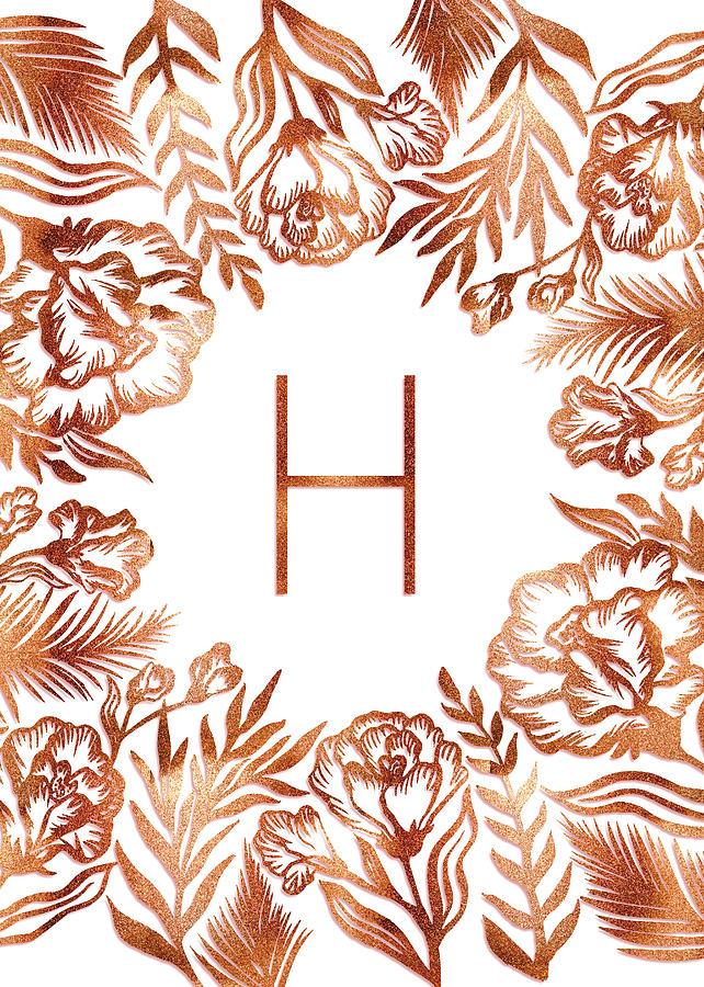 Letter H - Rose Gold Glitter Flowers by Ekaterina Chernova