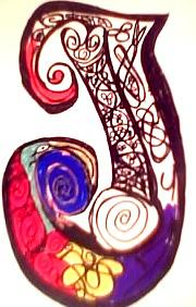 Calligraphy Drawing - Letter J by Johnna Crider