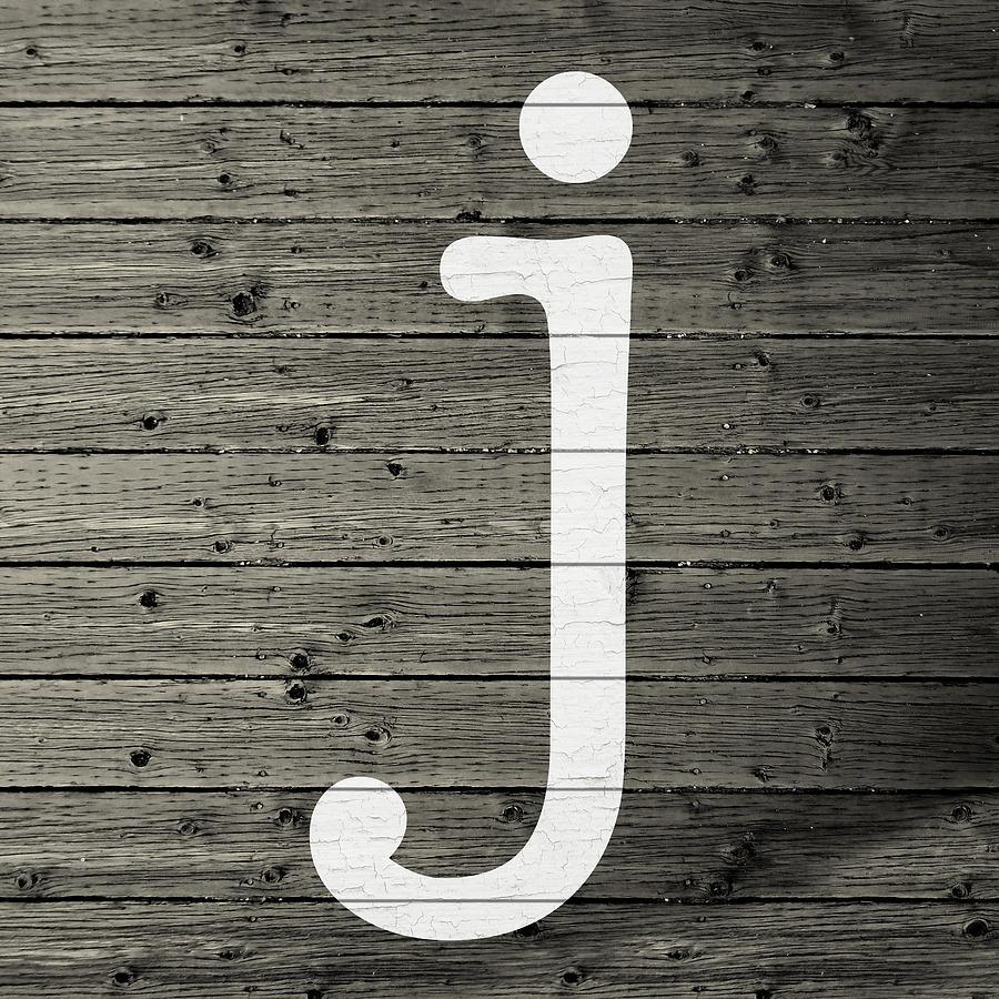 Letter Mixed Media - Letter J White Paint Peeling From Wood Planks by Design Turnpike