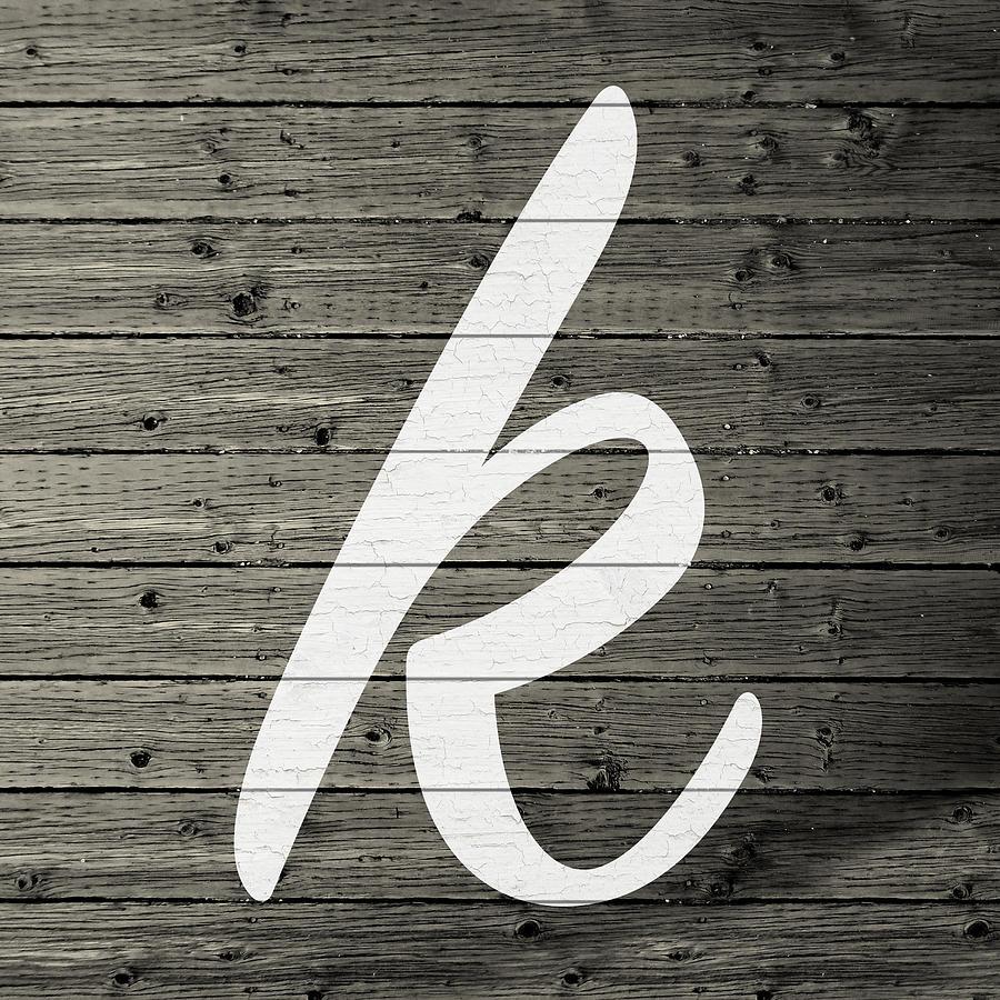 Letter Mixed Media - Letter K White Paint Peeling From Wood Planks by Design Turnpike