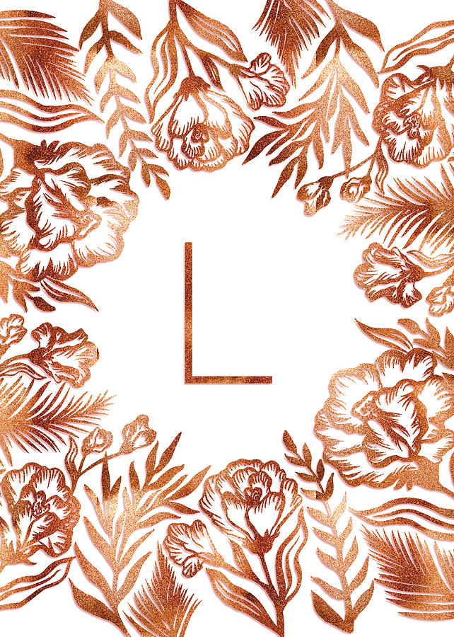 Letter L - Rose Gold Glitter Flowers by Ekaterina