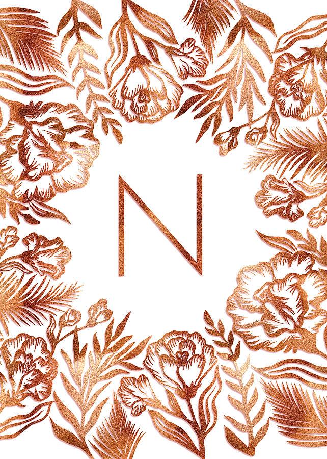 Letter N - Rose Gold Glitter Flowers by Ekaterina