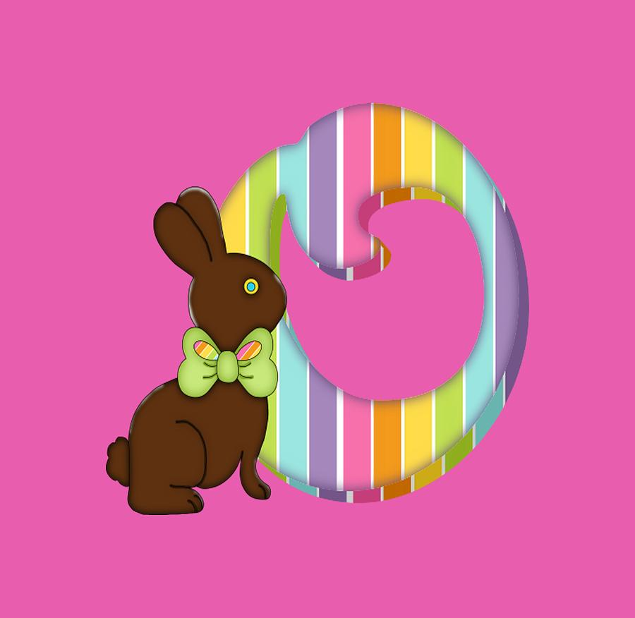 c466a929f Letter O Chocolate Easter Bunny. Monogram initial O in strips with ...