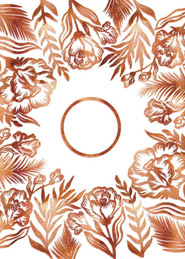 Letter O - Rose Gold Glitter Flowers by Ekaterina