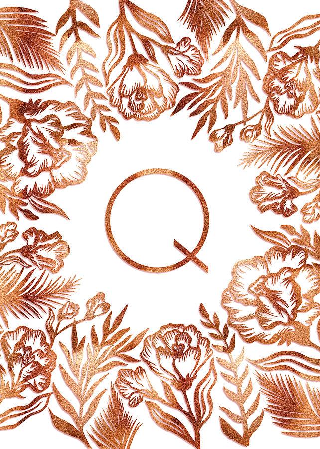 Letter Q - Rose Gold Glitter Flowers by Ekaterina