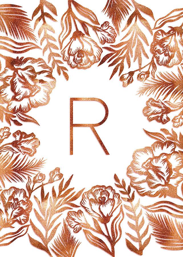 Letter R - Rose Gold Glitter Flowers by Ekaterina