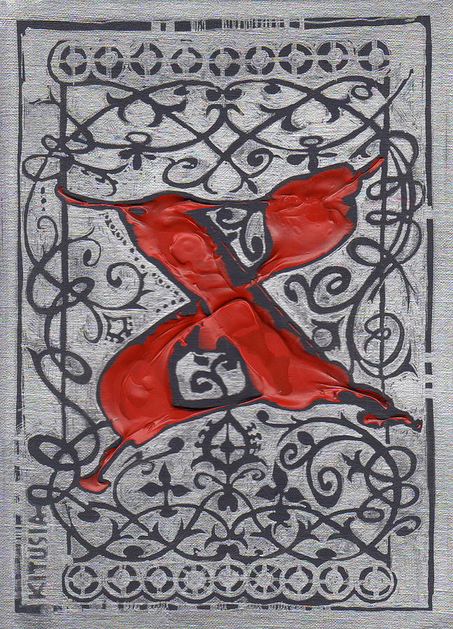 Letter Drawing - Letter X by Kristine Jansone