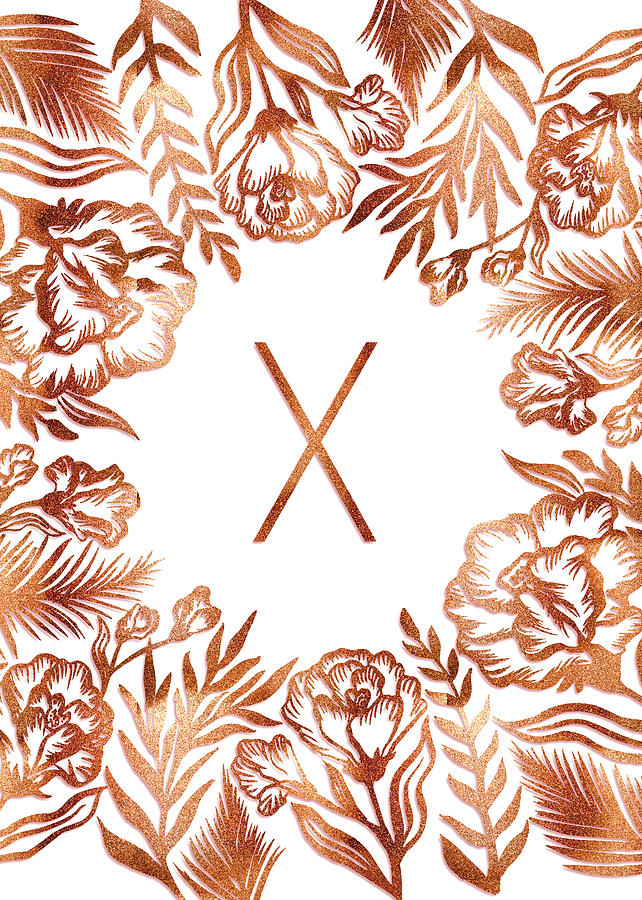 Letter X - Rose Gold Glitter Flowers by Ekaterina