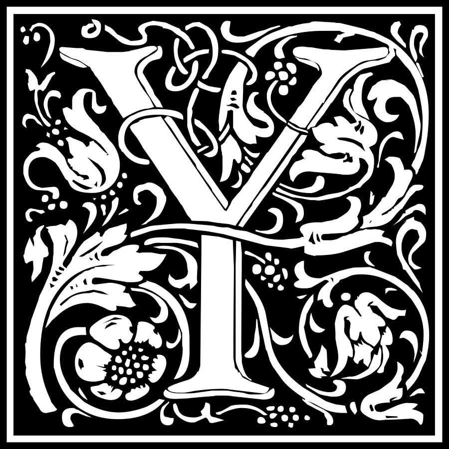 Letter Y In Morris Font Tapestry Textile By William Morris