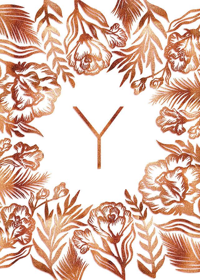 Letter Y - Rose Gold Glitter Flowers by Ekaterina
