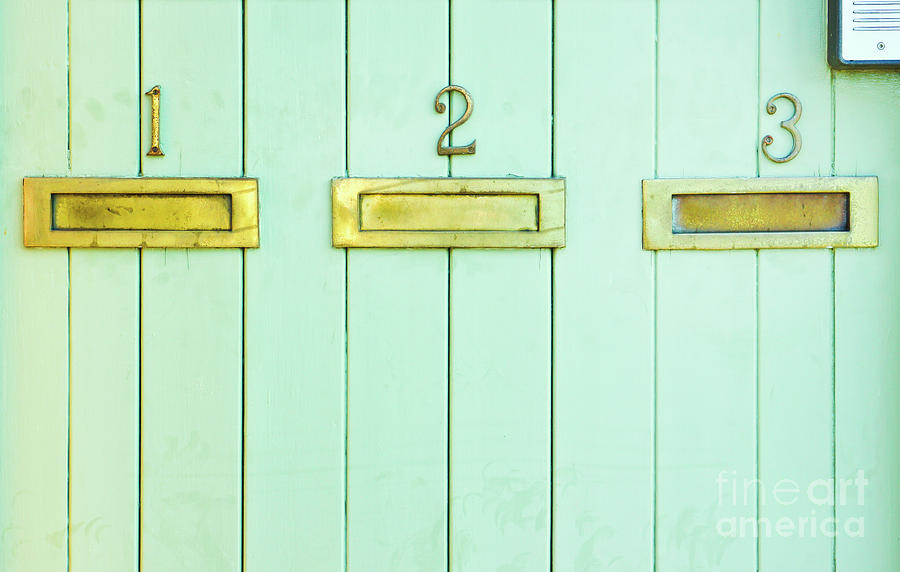 Adornment Photograph - Letterboxes On A Wooden Wall by Tom Gowanlock