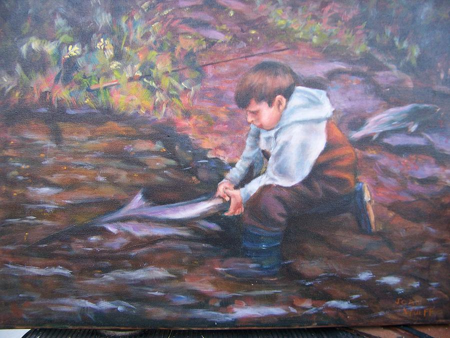 Children Painting - Letting The Big One Go by Joan Wulff