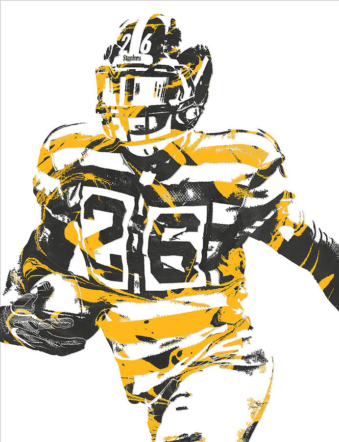 Leveon Bell Pittsburgh Steelers Pixel Art 21 Mixed Media by Joe Hamilton