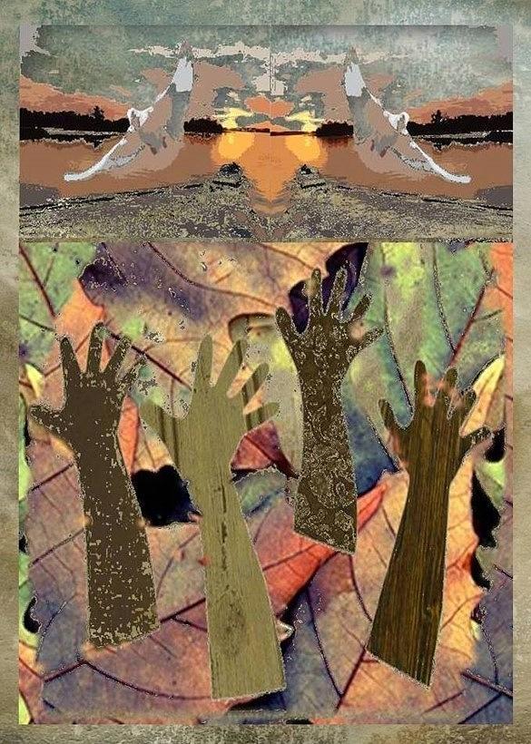 Levitation Of Fallen Leaves Mixed Media by Brenda Garacci