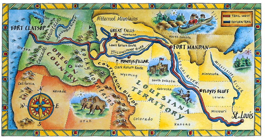 Horizontal Digital Art - Lewis & Clark Expedition Map by Jennifer Thermes