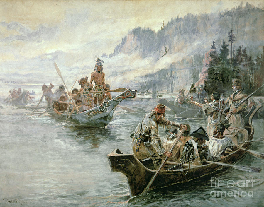 Rivers Painting - Lewis And Clark On The Lower Columbia River by Charles Marion Russell