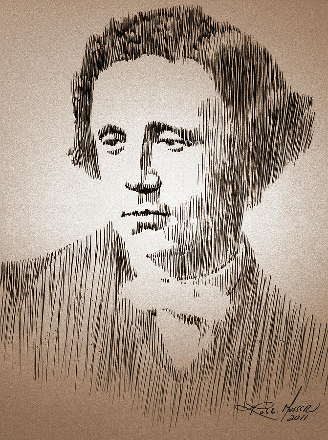 Pen Drawing - Lewis Carroll by Robbi  Musser