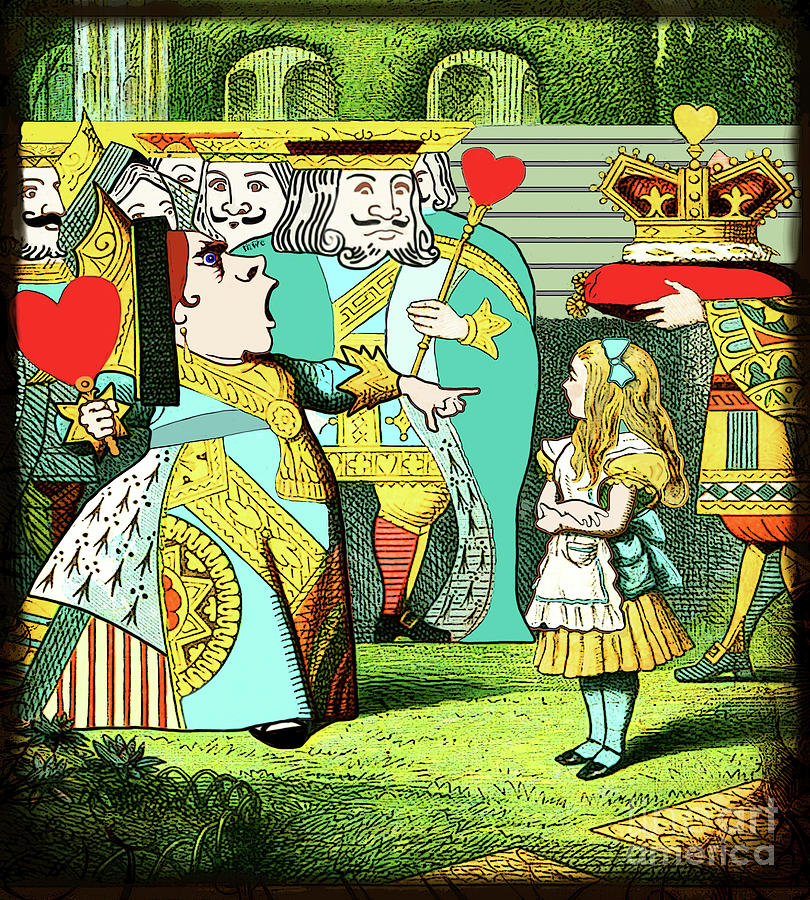 Lewis Carrolls Alice, Red Queen And Cards by Marian Cates