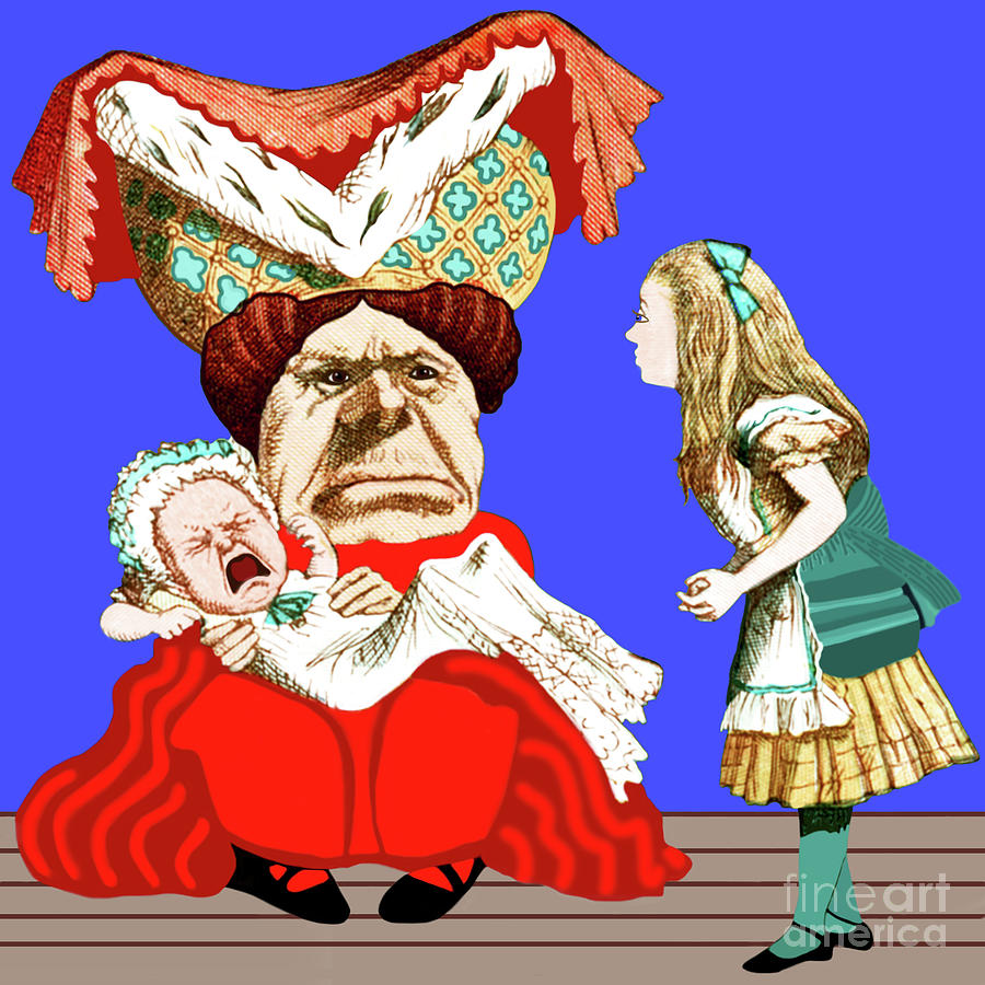 Lewis Carrolls Alice, Red Queen And Crying Infant by Marian Cates