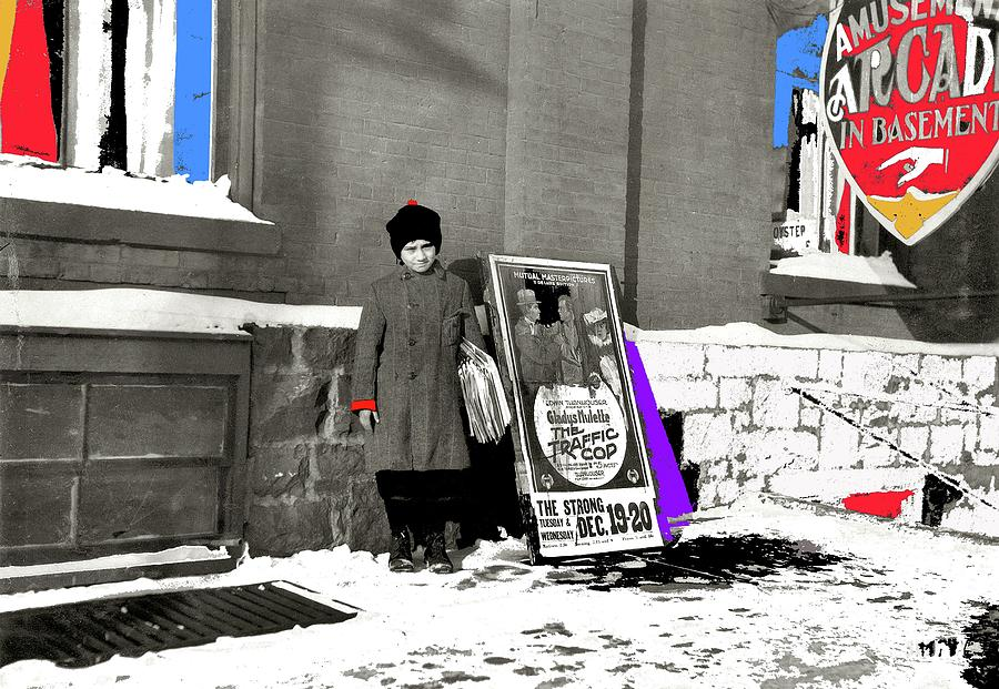 Lewis Hine Winter Newsie Burlington Vermont December 17 1916 color added 2012 by David Lee Guss