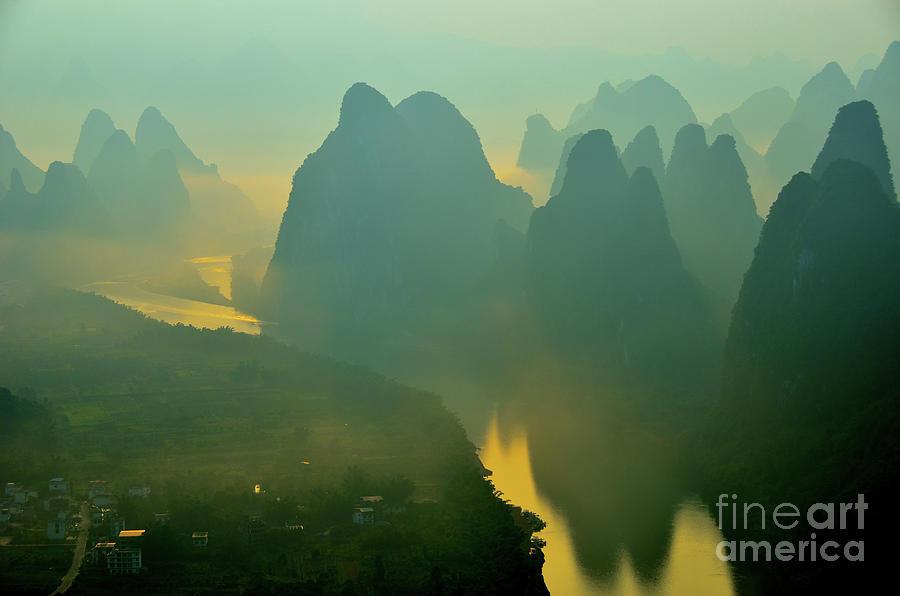 Li River Photograph - Li River At Dawn  by Yinguo Huang