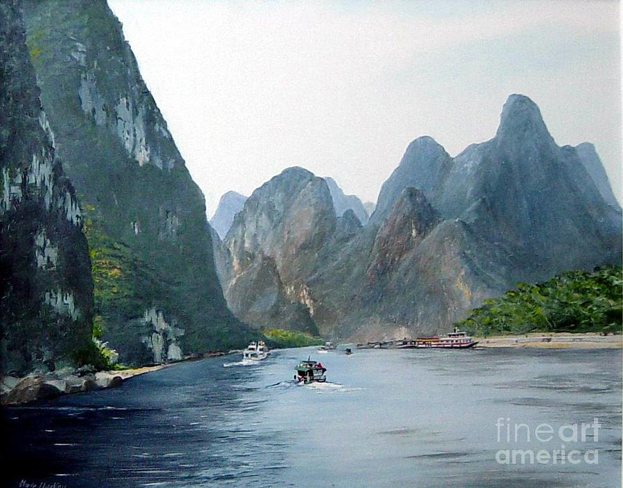 Mountains Painting - Li River China by Marie Dunkley