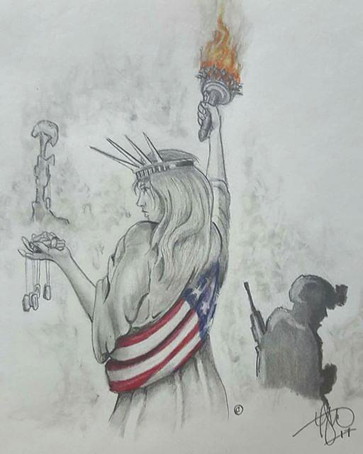 Liberty Drawing - Liberty And Justice For All by Howard King