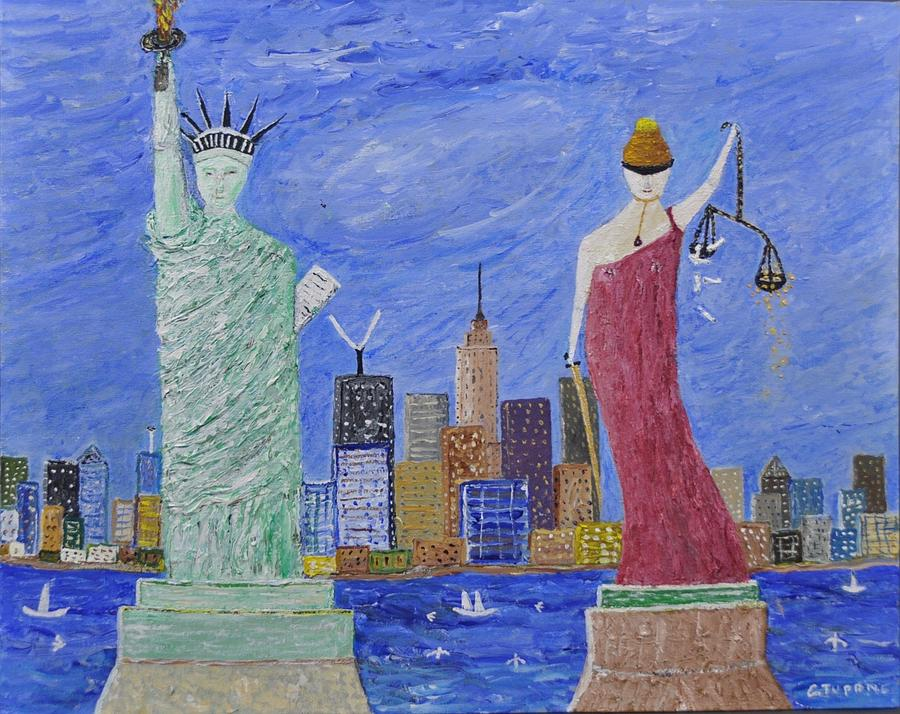 Statue Of Liberty Painting - Liberty And Justice  by Gino Tupone