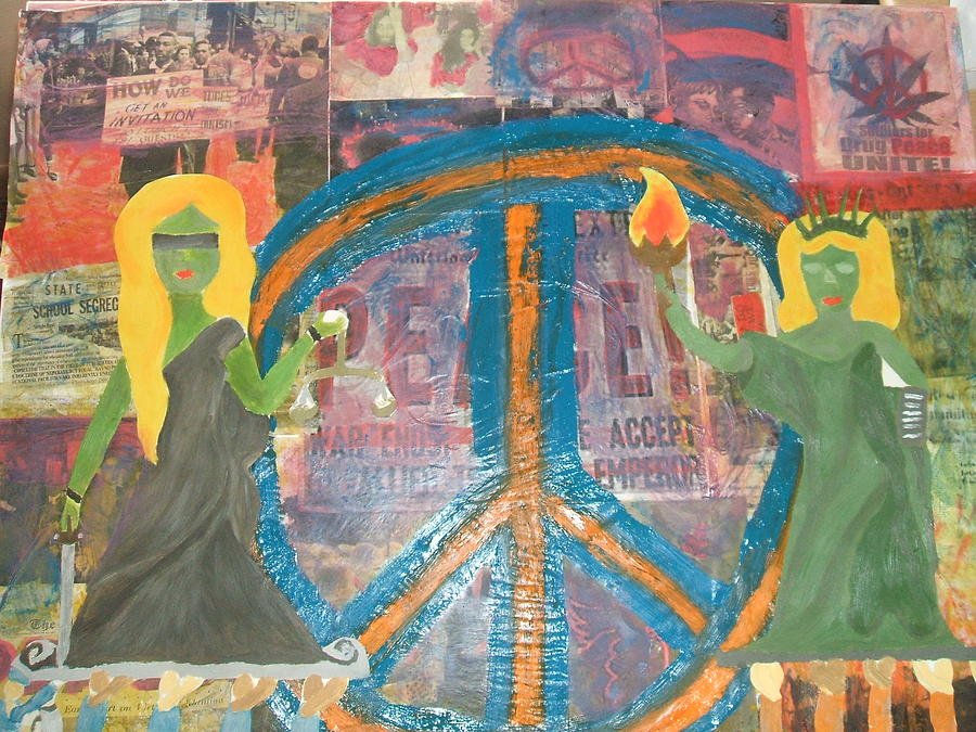 Oil Paint Mixed Media - Liberty And Peace by Tiffany Lint