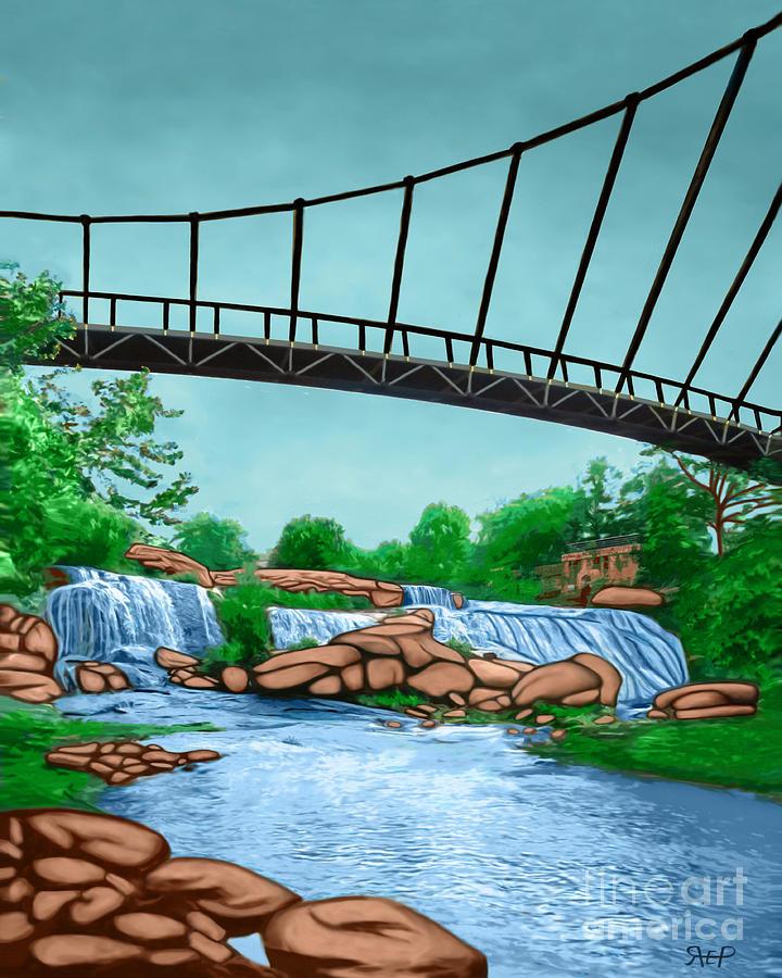 Liberty Bridge Greenville Sc Painting By Rachelle Petersen