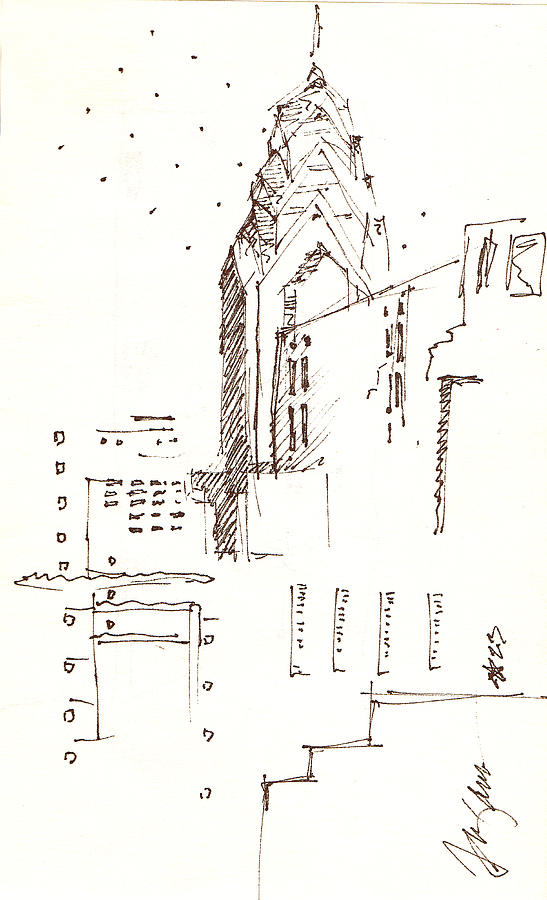 Liberty Place Drawing - Liberty Place Philadelphia by Donna Frizano Leonetti