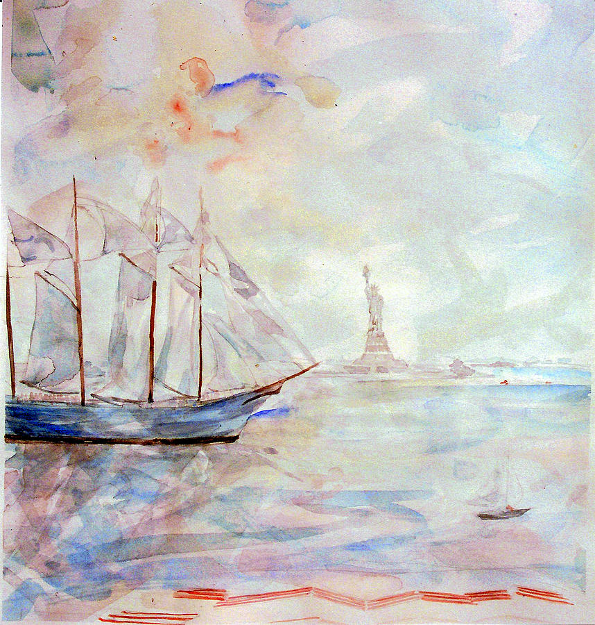 Ship Painting - Liberty Weekend July 4 1986 by Caroline Krieger Comings