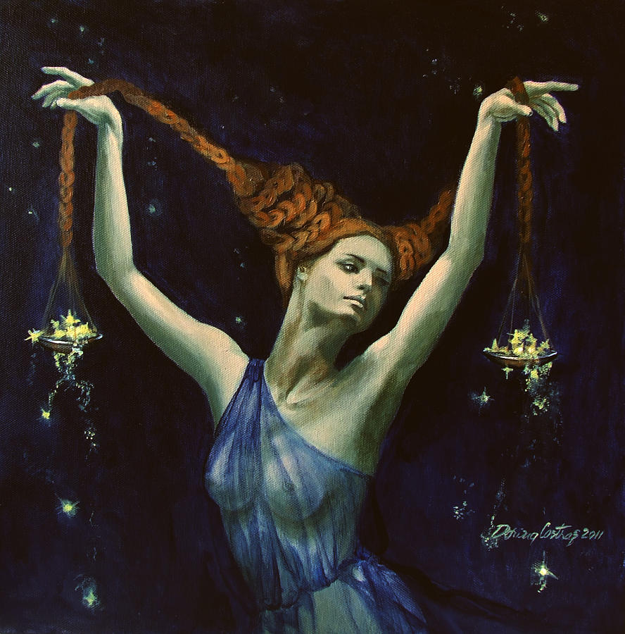 Painting Painting - Libra From Zodiac Series by Dorina  Costras