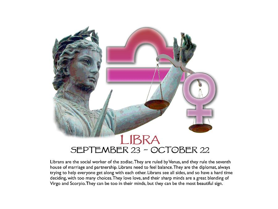 Libra Digital Art - Libra Sun Sign by Shelley Overton