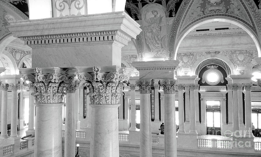 Washington Photograph - Library Of Congress 2 Black And White by E B Schmidt