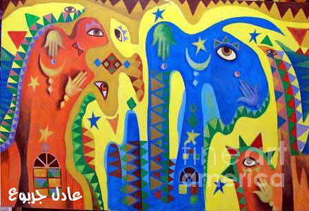 Abstract Painting - Libyan Legends by Adel Jarbou