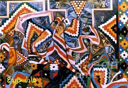 Abstract Painting - Libyan Traditional Touches 5 by Adel Jarbou