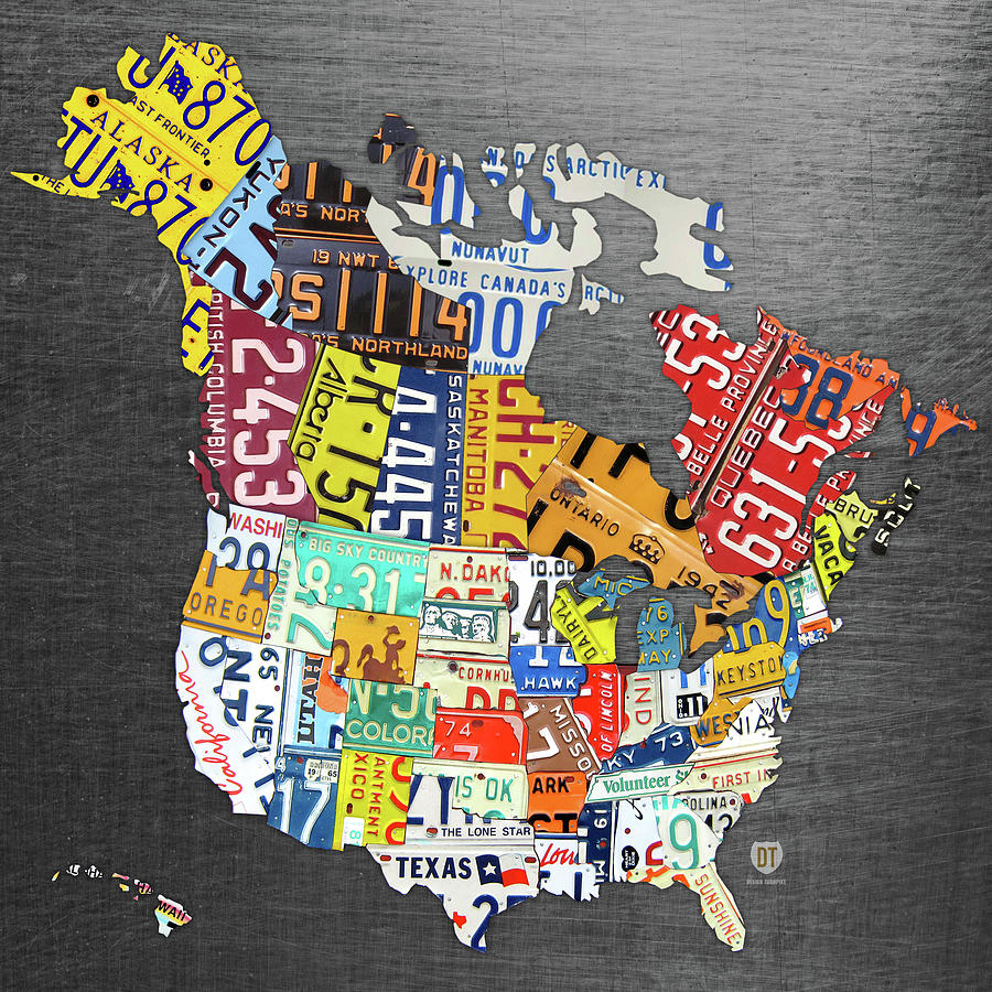License Plate Map Of North America Canada And The United States On Gray  Metal
