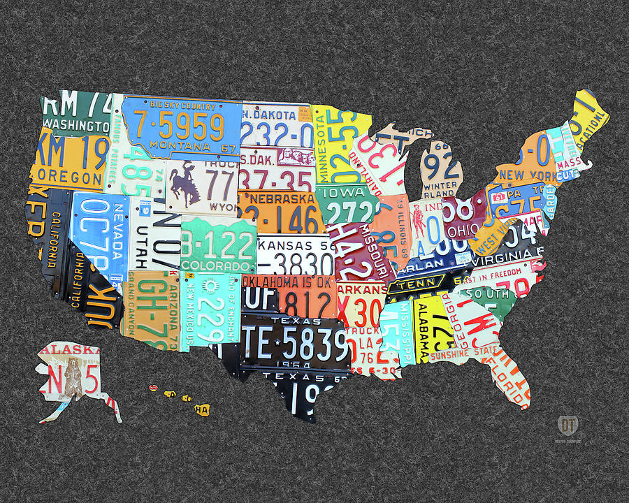 License Plate Map Of The United States On Gray Felt Large Format Sizing Mixed Media By Design Turnpike