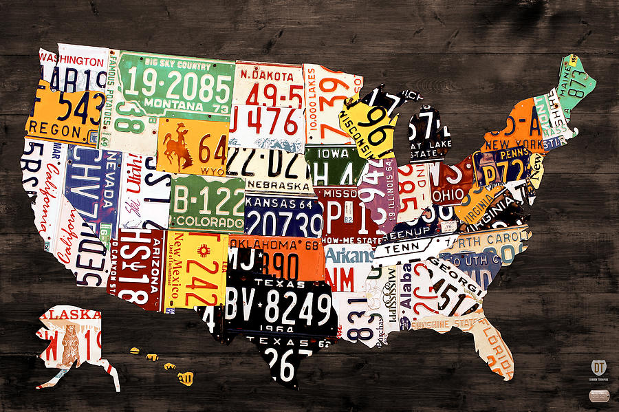 License Plate Map Of The United States - Warm Colors / Black Edition ...