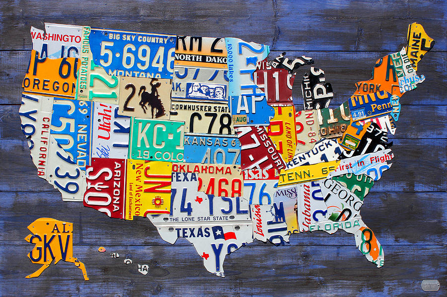 License Plate Map Of The Usa On Blue Wood Boards Mixed Media by ...