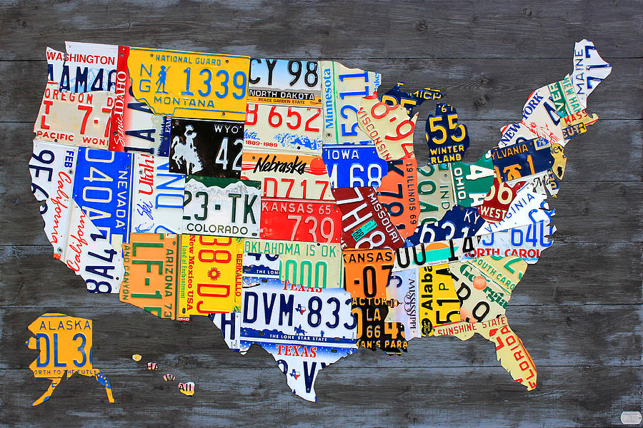 License Plate Map Of The Usa On Gray Distressed Wood Boards Mixed - Us liscense plate map