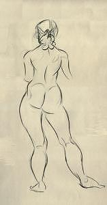 Life Drawing Drawing - Life Drawing Nude Back by Zee Risek