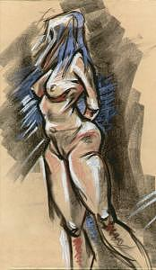 Life Drawing Drawing - Life Drawing Pastel Nude by Zee Risek